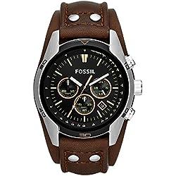 Fossil Coachman - Reloj (Reloj de pulsera, Masculino, Acero inoxidable, Acero inoxidable, Cuero, Marrón)