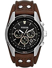 FOSSIL Coachman Chronograph Brown Leather Watch – Analogue Men's Watch with Quartz Movements and Black Dial - Stopwatch, Tachymeter and Timer Functionality