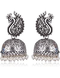 c17a3072b Prerit Traditional Silver Plated Peacock Jhumka Jhumki Earrings For Girls  And Women(Antique Pearl)