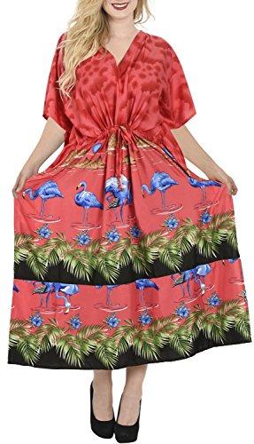 La Leela Flamingo alle in Damen Bademode Bikini bedeckt Abdeckung nach oben casual Abendkleid plus Dressing Nachthemd Lounge Abend tief Hals lange lose Kimono drastring Maxikleid Kaftan Badebekleidung Rubinrot