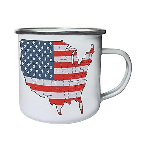 New United States America Flat Map Retro,Tin, Enamel 10oz Mug h676e