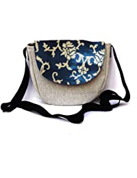 Woca Designs Keri Prints Canvas Sling Bag For Women/girls(Blue/Grey)