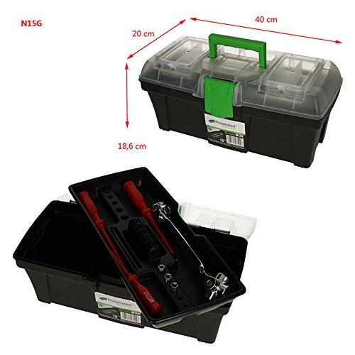 Werkzeugkoffer Angelkoffer Werkzeugbox Greenbox 40x20x18,6cm Werkzeugkasten Werkzeugkiste Werkzeugtrage Sortimentskasten Kleinteilemagazin Angelkiste Sortimentskiste Box Kiste Kasten