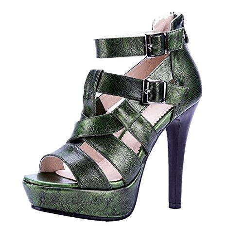 AIYOUMEI Damen Offene Sandalen Damen mit Absatz Stiletto High Heels Sommer Schuhe Grün