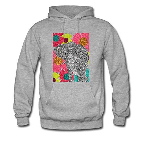 HGLee Printed DIY Custom Elephant Women's Hoodie Hooded Sweatshirt Gray--2