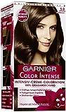 Garnier Color Intense, 5.0 Samtbraun, Dauerhafte Intensive Creme Coloration für permanente Haarfarbe (mit Perlmutt und Traubenkernöl) 3er Pack (3 x 1 Stück)