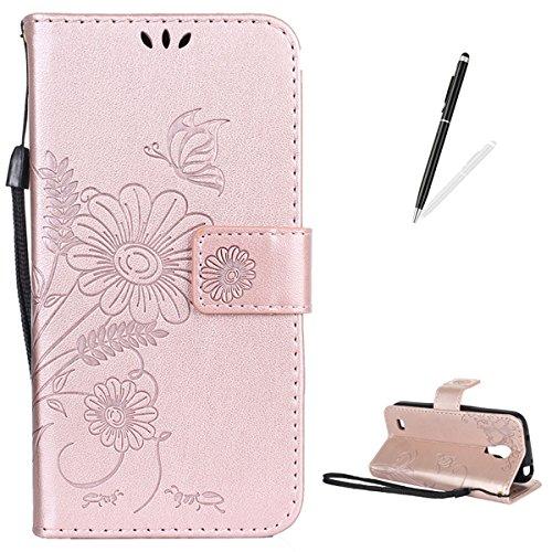 or Samsung Galaxy S4 Mini/I9190 Hülle Weich PU Leder Fall Flip Brieftasche Abdeckung mit [Magnetverschluss][Standfunktion] Leder Schale BAU im Stand Haut Stoßstange-Rose Gold ()