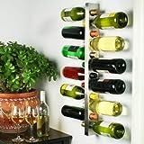 drinkstuff Weinregal, Wandbefestigung, für 12 Flaschen, horizontale Aufbewahrung