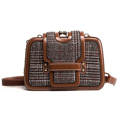DHFUD Frauen Umhängetasche Diagonal Bag Fashion Plaid Kleine Quadratische Tasche Mode Brown