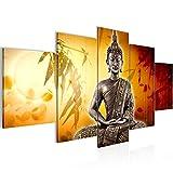 Bilder Buddha Wandbild 200 x 100 cm Vlies - Leinwand Bild XXL Format Wandbilder Wohnzimmer Wohnung Deko Kunstdrucke Orang 5 Teilig - MADE IN GERMANY - Fertig zum Aufhängen 500351b