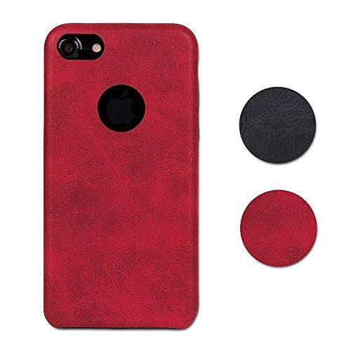 Hetcher Tech Premium Schutzhülle Kunstleder für iPhone 7 und iPhone 8 - Slim Case Cover - PU Hülle Hochwertig Modern Weich in Rot - Backcover Dünn Kunstlederhülle