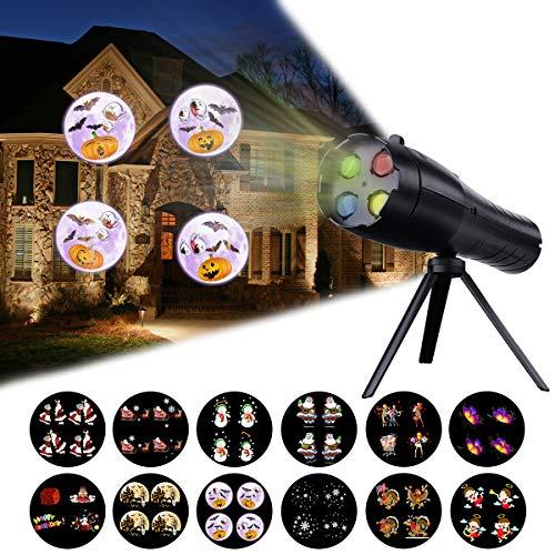 Halloween-LED-Projektor-Lichter, batteriebetrieben, 2-in-1, Kinder-Urlaubs-Dekoration, Licht, Projektor und Hand-Taschenlampe mit 12 Mustern und Stativ für Halloween, Weihnachten, Ostern, Geburtstag
