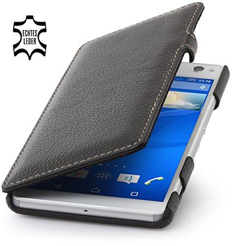 StilGut Book Type Case mit Clip, Hülle aus Leder für Sony Xperia C4, schwarz