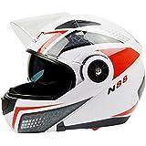 Casco de moto de seguridad con 2viseras Flip Up, casco para adulto, A