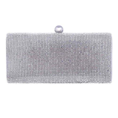 Damara® Damen Exquisit Party Taschen Strassstein Hartschalen Clutch Silber