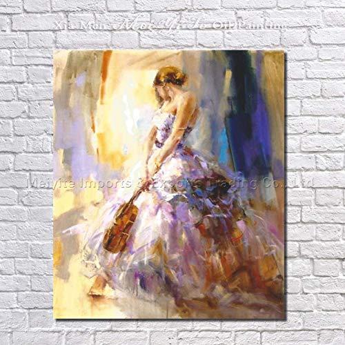 MYT Heißer Mädchen Spielen Violine Ölgemälde auf leinwand handgemalte abstrakte Figur wandkunst Bild für Wohnzimmer wohnkultur