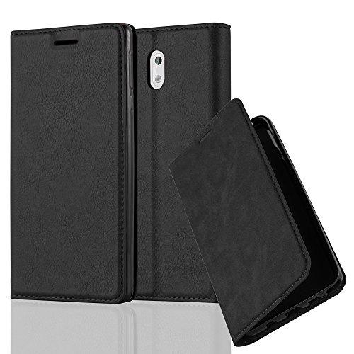 Cadorabo Hülle für Nokia 3-2017 - Hülle in Nacht SCHWARZ – Handyhülle mit Magnetverschluss, Standfunktion und Kartenfach - Case Cover Schutzhülle Etui Tasche Book Klapp Style