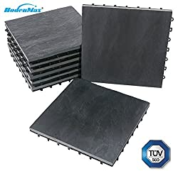 BodenMax® Natural Stone Slate Click Floor Tiles Set 30 x 30 cm Terrace tiles Slate Stone Terrace tile Stone Tile anthracite Click tile black gray (8 pieces)