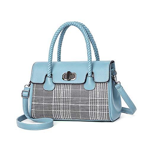 MYJ Damentasche, Trend Handtasche Mode Nähen Schulter Umhängetasche,Blau,A