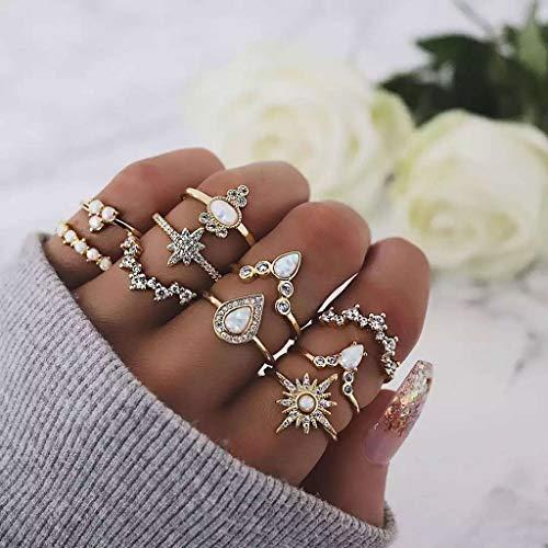 QIUMINGSS Damen Neu Ring Schmuck Vintage Temperament Sterne Tropfen Diamant Protein 10 StüCk Set Elegante Mode Zarte Charmante Geschenk Jewelry -