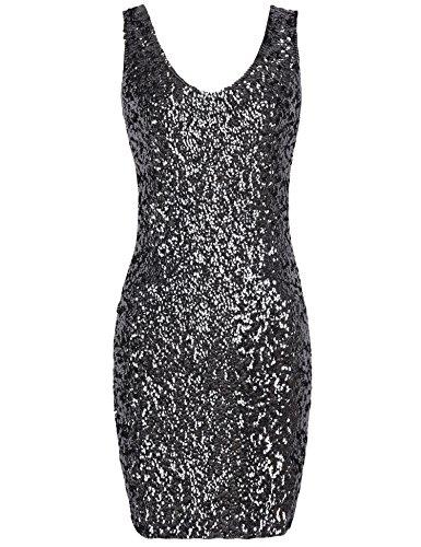 PrettyGuide Damen reizvoller tiefer V-Ausschnitt Pailletten Glitzer Bodycon Stretchy Minipartei-Kleid Schwarz