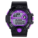 YAZILIND Unisex Sportuhr Multifunktions Led Licht Digital Wasserdichte Armbanduhr (lila)