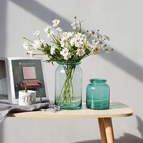 RENYAYA Vase Mundgeblasen Einfache Zylinder Glasvase, Tischplatte Herzstück Vasen, Dekor Geschenkbox, Klar, Blau, Mehrere Größen,4Piecescombination (Zylinder Vase Herzstück)