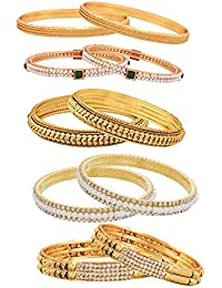 Zeneme Combo Of Designer Victoria Bangles, Pearls Bangles, Trendy Gold Plated And Coinage Bangles - Pack Of 12