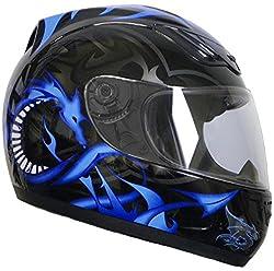 Rallox Helmets Integralhelm 510-3 schwarz/blau RALLOX Motorrad Roller Sturz Helm (XS, S, M, L, XL) Größe L