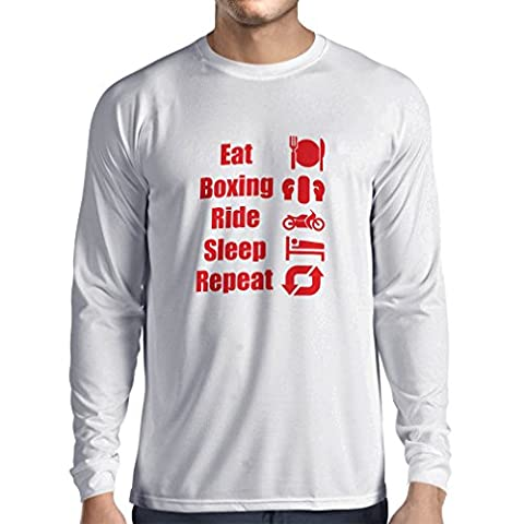Long sleeve t shirt men Eat Boxing Ride Sleep Repeat - motivational sports quotes (X-Large White Red)
