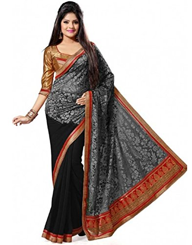 Indian E Fashion Embroidered Grey Half And Half Georgette Saree With Blouse Material For Party wear,Wedding,Casual sarees  available at amazon for Rs.249