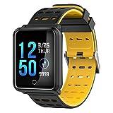 ZZG Smart Watch bluetooth drahtlose Aufladung 1,3-Zoll-Farbbildschirm Herzfrequenz Blutdruckmessgerät wasserdicht Mode Schrittzähler Gesundheit Übung Armband (Color : Schwarz)