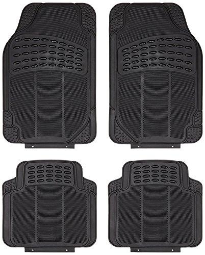 Akhan FUM03G - Set di tappetini per auto, 4 pezzi, in gomma, colore nero
