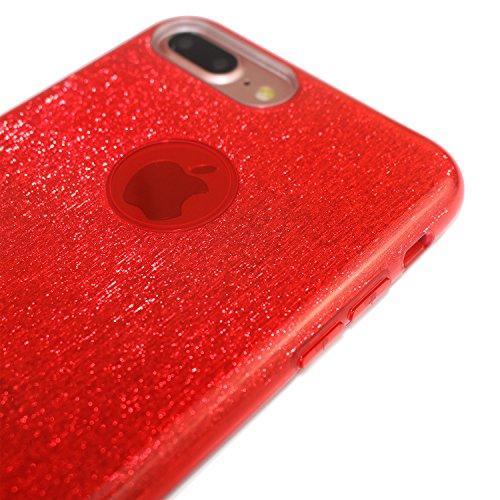 Cover per iPhone 8, Shiny Series CLTPY iPhone 7 Custodia [3 in 1] Copertura Esterna del Silicone Molle di Lusso + Bling Silver Glitter Paper + Copertura Interna Trasparente di Plastica Dura per Apple  Rosso