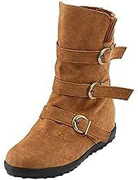 Botas Mujer Invierno Calentar Piel Forro Planos Botines Nieve Ante Botita Medianas Ankle Boots Antideslizante Elásticos