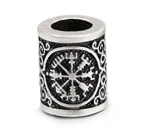 5 Stück 1,7 cm Große Viking Wikinger Kompass Mittelalter Haar & Bartperle Bart Schmuck Handarbeit für Armband. Heidnisches Amulett Skandinavisches Odin Symbol Norse.
