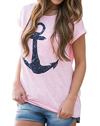 Minetom Maglietta Donne Estate Moda Casual Boat Anchor Stampa Allentata Solido di Colore Girocollo a Maniche Corte T-Shirt Tops Bluse Camicetta Pink