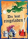 Einladungskarten Kindergeburtstag Jungen mit Innentext Motiv Ritter 25 Karten im Postkartenformat DIN A6 mit Umschlägen Einladung Geburtstag Ritter (K06)