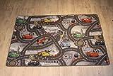 Disney Cars grau Kinderteppich Spielteppich - 0,95 x 2,00 - Lightning Mcqueen Straßenteppich für Kinder,