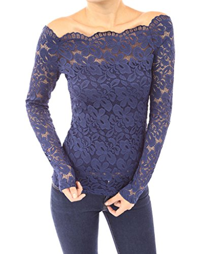 Smile YKK T-shirt Femme en Dentelle Epaule Nue Chemise Tops à Manches Longues Amincissant Bleu