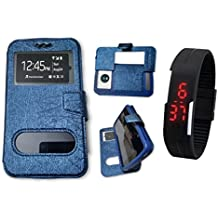 BKDT Marketing Leather finish Flip Cover Case Stand Diary Style for Champion MP 43 with Dislay Window and Stand - Blue with Digital Watch