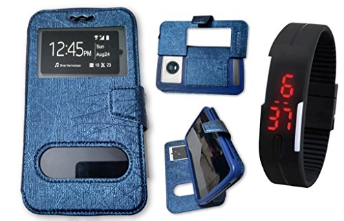 BKDT Marketing Leather finish Flip Cover Case Stand Diary Style for MICROMAX Canvas Turbo Mini A200 with Dislay Window and Stand - Blue with Digital Watch  available at amazon for Rs.519