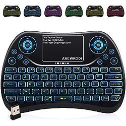 ANEWKODI AZERTY Mini Clavier Rétro-éclairé Sans fil, 2.4GHz Mini Clavier de Souris Combo, Mini Clavier Wireless Télécommande pour Téléviseur intelligent,HTPC,IPTV, Téléviseur Android, XBOX360, PS3, PC