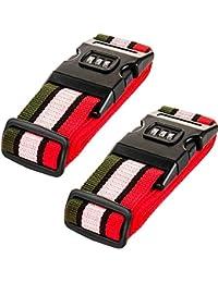 Amazing Tour - Paquete de 2 cinturones de seguridad para maletas, con clip de bloqueo de contraseña, Four color P2