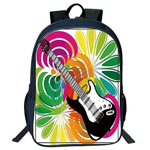 HOJJP Schultasche Stylish Unisex School Students Black Popstar Party,Colorful Floral Abstract Frwork Guitar Energetic Desi Decorative,Multicolor Kids,