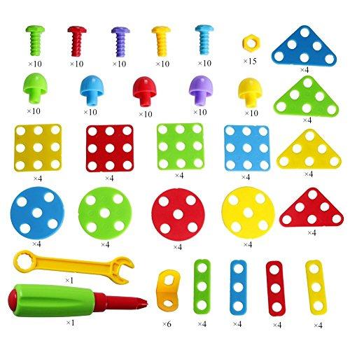 Brigamo 2404 – ⚒ Mosaik Steckspiel, 3d Puzzle Konstruktionsspielzeug Baukasten Set mit Kinderwerkzeug ⚒ - 3