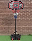 Marko Sports Free Standing Basketball Net Hoop Backboard Adjustable Stand Set Wheels Portable (Single)