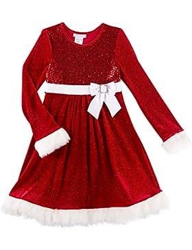Bonnie Jean Baby Mädchen Kleid Weihnachtskleid Samtkleid mit Pailetten und Plüsch Gr. 62,68,74,80,86,104,110,116,122,128,134,140,152,164,170