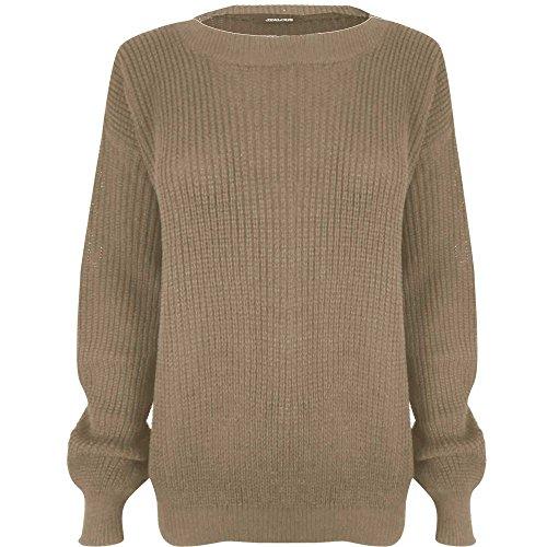Janisramone femmes tricot chunky surdimensionné bouffant manches longues plaine Jumper Crème