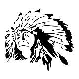Wadeco Indianer Häuptling Alt Wandtattoo Wandsticker Wandaufkleber 35 Farben verschiedene Größen, 160cm x 142cm, lindgrün